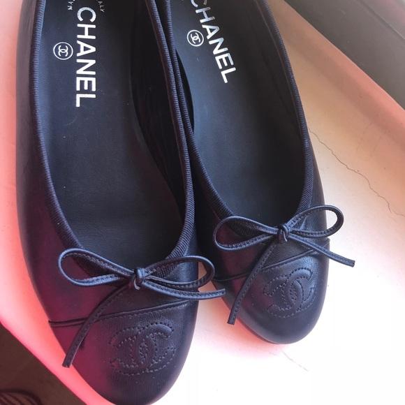 351a95746e8d4 New Navy Chanel Flats Sz 36